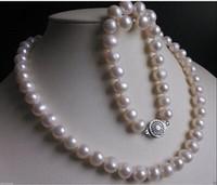 aa twist - New AA MM White south sea Pearl Necklace Bracelet Earring Set inch