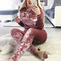 Wholesale New Women s Autumn Winter Sets Velvet Tracksuits Long Sleeve Pullover Top And Drawstring Pants Casual Two Piece Set Clothing