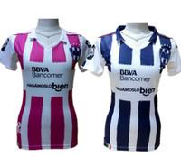 Precio de Camisetas de fútbol de color rosa-2017 México Monterrey Inicio Mujer Camisetas de fútbol Rosa Chica Camisas Señora femenina Fútbol Ropa W.GARGANO R.FUNES MORI D.PABON Maillot Top