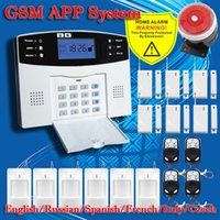 Wholesale DHL English Russian Spanish French Voice Wireless GSM Alarm system Home security Alarm systems LCD Keyboard Sensor