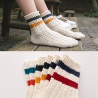 acrylic yarn manufacturers - The wind two bars of high quality student socks manufacturers of slub yarn needle socks