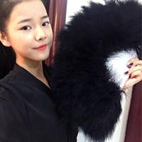 Wholesale elegant full soft feather wedding hand fans dance fan