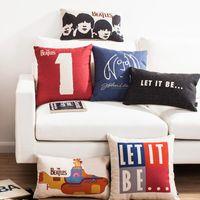 beatles art prints - British retro nostalgic art John Winston Lennon decorative throw pillows Beatles Submarine cotton linen cushions cover for sofa home decor
