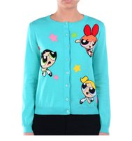 Wholesale The Powerpuff Girls Cartoon Patter Women Long Sleeve Knitted Cardigan Outerwear
