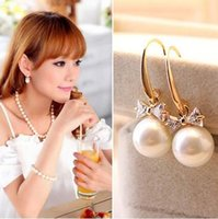 Wholesale 2017 New CZ pearl bowknoted earrings Fashion Crystal Jewelry beautiful wedding engagement gift