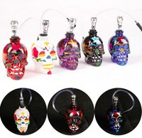 Zinc Alloy & Glass Smoking Pipes Black / white / red /purple / blue NEW Colored Skull Pipes Glass Hookahs Bong Zinc Alloy&Glass With Leather Hose Portable Mini Pipes Smoking Accessories Lipstick Smoking Pipe