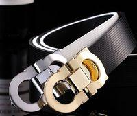 Wholesale New Top feragamo belt designer belts men high quality genuine leather luxury smooth big buckles CM belt for men
