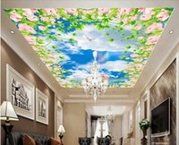 Wholesale 3d ceiling murals wallpaper custom mural The sky clouds of flowers d wall murals wallpaper for living room wall papers home decor painting