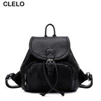 Venta al por mayor CLELO 2016 mujeres mochila señora bolsa señoras pequeñas mochila de cuero escuela mochila impermeable para adolescentes moda negro bolsas