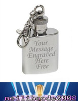 Wholesale FREE Personalised Engraved oz Stainless Steel Hip Flask Keyring MYY