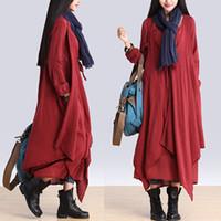 Wholesale BOHO Long Sleeve Loose Dress Women s Cotton Linen Unbalance Designers Layered Fake Two Pieces Maxi Dress Gypsy Blouse Shirtdress