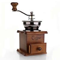 Cafetières à café en gros moulin à café en bois moulé à la main