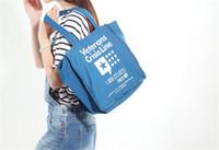 Wholesale New Fashion Simple Eagle blue canvas health bag bags shopping bags Storage Reusable Shopping Tote Bags Quality shopping bag pouch