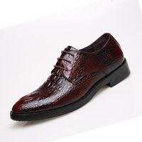 alligator shoe crocodile - British Style Alligator Leather Shoes Men s Dress Wedding Fashion Business Crocodile Shoes Mens Casual Oxford Breathable Shoes
