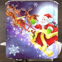 Wholesale x180cm Santa Claus Waterproof Polyester Shower Curtain Bathroom Christmas Decor with Hooks Your Best Choice