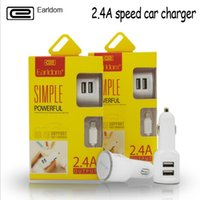 Wholesale Earldom Factory Direct Car Charger Dual Usb A Mobile Phone Universal Charger Car Cigarette Lighter Charging Head Comes With Data Cable