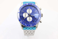 annual free - Phantom Blue Face Quartz Men s Wristwatch Platinum Skeleton Three Tone With Annual Calendar Stopwatch Male Watch