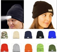 angle fashion - Hot led knitted beanie hat for men colors womens winter warm lights LED glowing knitting caps Angling Hunting Camping Running glow hat