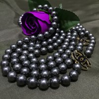 Wholesale F Fashion Jewelry NEW Top Long mm dark grey sea shell pearl necklace quot