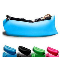 Wholesale 11 Colors Fast Inflatable Camping Sofa Banana Sleeping Lazy Chair Bag Nylon Hangout Air Beach Bed Couch Lay Outdoor Sleep Fast Filling