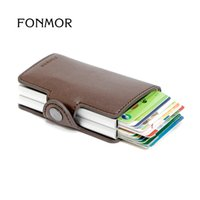 Wholesale FONMOR Brand TwinWallet RFID Automatic Card Holders Protector Slim Mini Wallet pu Leather Card Wallet Cardprotector