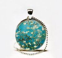 almond trees bloom - Hot Sale Van Gogh Almond Branch in Bloom art necklace flower jewelry flowering tree Van Gogh art pendant Glass cabochon Necklace