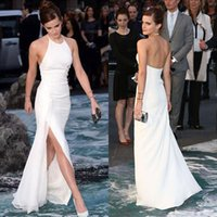 Wholesale Pure White Celebrity Dresses Sexy Emma Watson Chiffon Split Side Red Carpet Formal Evening Party Gowns With Halter Backless
