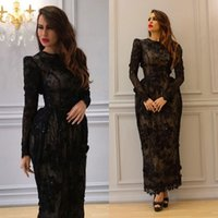 arab wear - Black Arab Lace Dresses Evening Wear With Long Sleeves D Appliqued Jewel Neck Evening Gowns Column Ankle Length Formal Dress