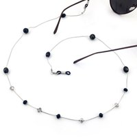 Wholesale GL053 pc fashion eyewear jewelry custom black crystal beads cool girls sunglass chain lanyards