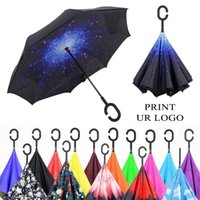 Wholesale Inverted Umbrella Double Layer Reverse Rainy Sunny Umbrella with C Handle Self Standing Inside Out Special Design FEDEX