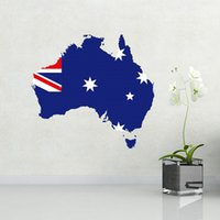 australia decor - Flag Map of Australia Illustration Landmark Wall Sticker Wedding Decor Waterproof Removable Vinyl Wallpaper Decal Holiday Decoration