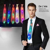 Wholesale Light Up LED Luminous Sequin Neck Ties New Fashion Changeable Colors Necktie Women Men Flashing Fiber Tie for Party Club