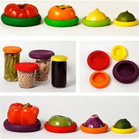 Wholesale 4pcs Silicone Food Huggers Reusable Silicone Food Savers Food Huggers Fruits and Vegetables Storage Containers Reusable Lids Colorful Covers