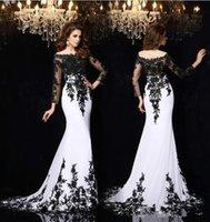 Fatale vestidos de noche de manga larga en Cannes Francia puede fuera de hombro blanco negro Celebrity vestidos de alfombra roja
