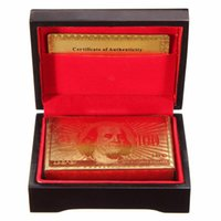 Unisex baseball card box - New K Karat Gold Foil Plated Poker Playing Card with Wood Box and Certificate Card Best Deal