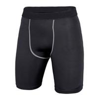 Venta al por mayor-Rápido Seco Hombres Base Ciclo de la piel apretada Compression Solid Shorts