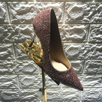 Wholesale 1New Arrival JC Romy Shoes for Womens Dress ShoeNavy and Silver Coarse Glitter Degradé Pointy Toe High Heels Pumps Wed Shoe for Bride Korean
