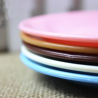 Wholesale 2016 New Pattern Plates Solid Colour Plastic Bowls Wedding Tableware Party Supplies Colours Dinner Plates Plastic Wedding Plates Candy Dish