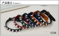 Wholesale European and American Bracelet Genuine leather Metal Having personality rivet Punk men and women Large sales
