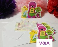 barney supplies - New Dinosaur Barney Friends Cartoon Kid Baby Birthday Party Decoration Supplies Favors Invitation Cards