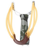 Wholesale Powerful Aluminium Alloy Slingshot Rubber Sling Shot Catapult Camouflage Bow Catapult Hunting Accessories
