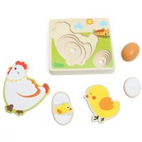 Wholesale Multilayer Chicken Growth Hen Growing Up Story Cartoon Children Kids Wooden Puzzles Panel Process Emulational Eggs Baby Toys