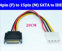 Cheap High Quality SATA Power Cable 4pin (F) to 15pin (M) SATA to IDE hard drive line Free ship via DHL EMS
