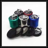 alloy pipe cap - Hand Crank Herb Grinder Layer Parts mm Zinc Alloy Metal Smoking Grinder Pipe Herbal Vaporizer Tool with Magnetic Centric Grinding Caps