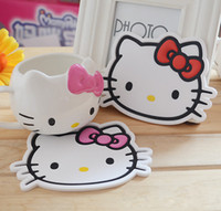 Wholesale Kawaii Hello Kitty Cartoon Cup Mat Coaster Dinnerware Insulation Pads Silicone Non slip Mats Coasters Placemat Table Decor
