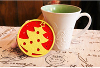 Wholesale 50pcsNewest Christmas Table Decoration cm non woven round christmas tree elk Snowflakes and angel Design Cup Mats Sweet Pads for best gift