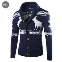 asian jumper - Asian Size Autumn Winter Mens Cardigans Christmas Sweater Jumper Turn Down Collar Deer Graphic Knitted Cardigan Knitwear