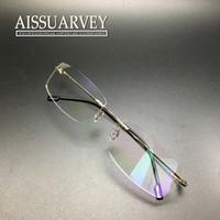 Wholesale Men glasses frame rimless eyeglasses optical brand designer prescription titanium alloy light handsome business thin leg new clear lenses
