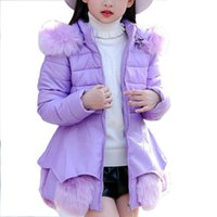 Wholesale 2017 Children Girls Overcoat Wool With Thick Winter Cotton Padded Jacket Leather PU Leather Long Cotton Padded Clothes