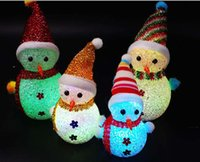 Wholesale 2016 new arrival chirstmas flicker Colorful night light Christmas snowman lovely delicate Small gifts toy Christmas necessary